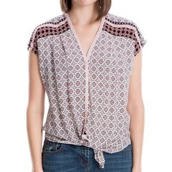 Max Studio Womens Medallion Print Tie Front Top