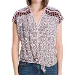 Max Studio Womens Medallion Print Tie Front Top
