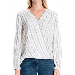 Max Studio Womens Striped Faux Wrap Long Sleeve Top