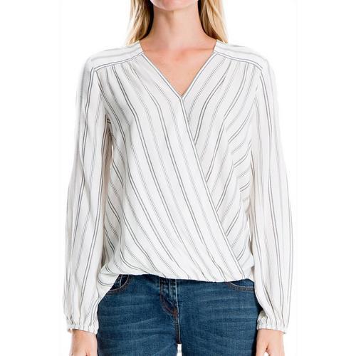 d0a734a12691b Max Studio Womens Striped Faux-Wrap Long Sleeve Top