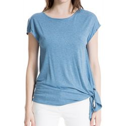 Max Studio Womens Heathered Side Tie Short Sleeve Top