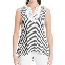 Max Studio Womens Embellished Stripe Sleeveless Top