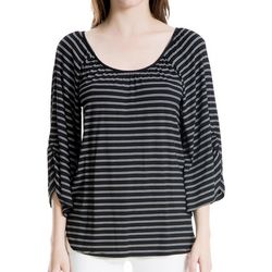 Max Studio Womens Striped Ruched Sleeve Top