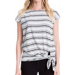 Max Studio Womens Striped Side Tie Top