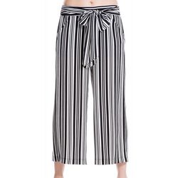 Max Studio Womens Striped Tie Waist Ankle Pants