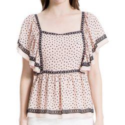 Max Studio Womens Polka Dot Flutter Sleeve Top