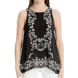 Max Studio Womens Leafy Floral Sleeveless Top