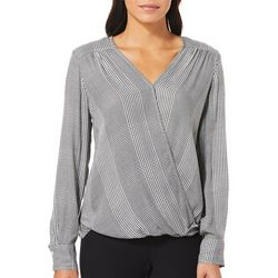 Max Studio Womens Houndstooth Faux-Wrap Top