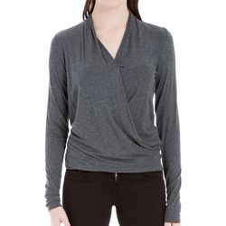 Max Studio Womens Heathered Faux-Wrap Top