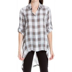 Max Studio Womens Plaid Button Down High-Low Top
