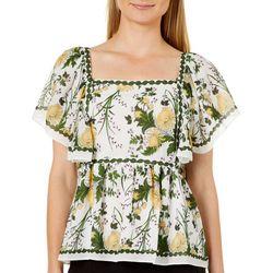 Max Studio Womens Ruffled Floral Print Babydoll Top