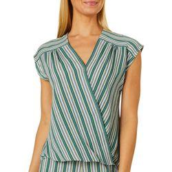Max Studio Womens Crepe Striped V-Neck Top