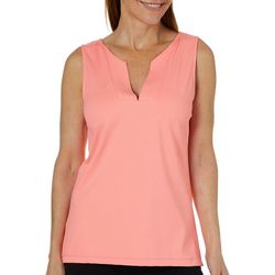 Sunsets and Sweet Tea Womens Solid Split Neck Sleeveless Top