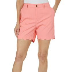 Sunsets and Sweet Tea Womens Scalloped Hem Solid Shorts