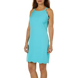 Sunsets and Sweet Tea Womens Solid Scallop Hem Dress