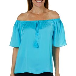 Sunsets and Sweet Tea Womens Off The Shoulder Tassel Top