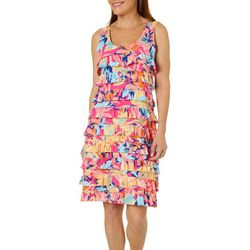 Sunsets and Sweet Tea Womens Tropical Floral Ruffle Dress