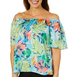 Sunsets and Sweet Tea Womens Tropical Floral Tassel Top