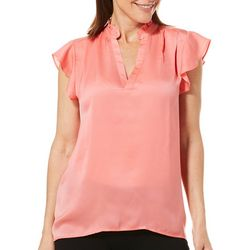 Sunsets and Sweet Tea Womens Solid Ruffle Sleeve Top