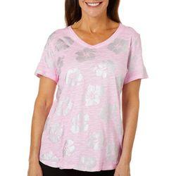 Sunsets and Sweet Tea Womens Metallic Hibiscus T-Shirt
