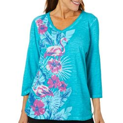 Sunsets and Sweet Tea Womens Tropical Flamingo Print Top