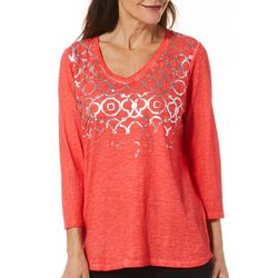 Sunsets and Sweet Tea Womens Geometric Foil Print Top