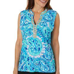 Sunsets and Sweet Tea Womens Paisley Print Notch Neck Top