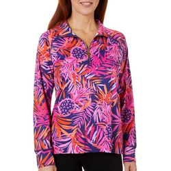 Sunsets and Sweet Tea Womens Pineapple Quarter Zip Jacket