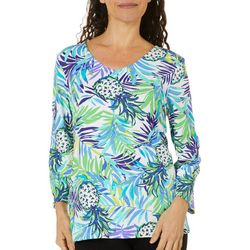 Sunsets and Sweet Tea Womens Tropical Pineapple Print Top