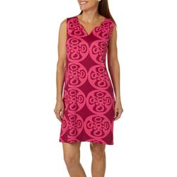 Sunsets and Sweet Tea Womens Medallion Notch Neck Dress