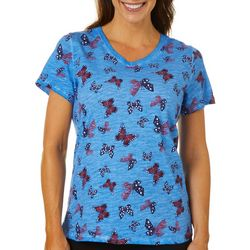 Sunsets and Sweet Tea Womens Americana Butterfly T-Shirt