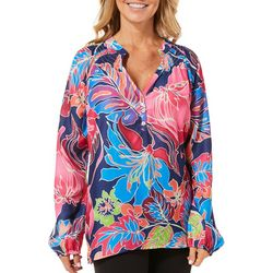 Sunsets and Sweet Tea Womens Tropical Floral Top
