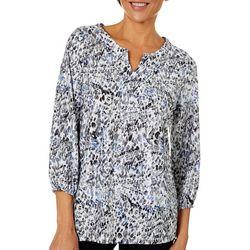 Cathy Daniels Womens Leopard Print Shimmer Top