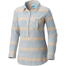 Columbia Womens PFG Coral Springs II Woven Striped Shirt