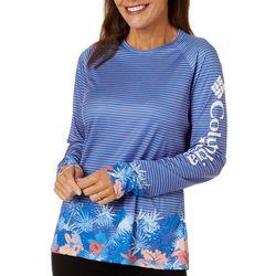Columbia Womens PFG Super Tidal Floral Stripe Tee