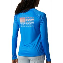 Columbia Womens PFG Tidal Flag Graphic Long Sleeve Shirt