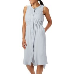 Columbia Womens Tamiami Solid Button Down Sleeveless Dress