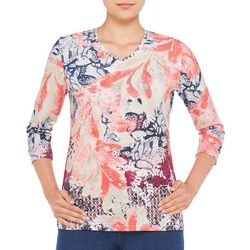 Alia Womens Embellished Mixed Leaf Top