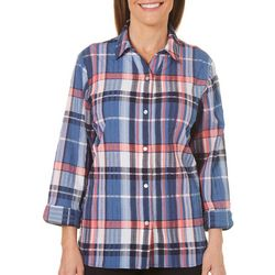 Alia Womens Plaid Button Down Top