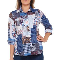 Alia Womens Abstract Patchwork Button Down Top