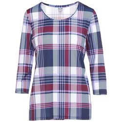 Alia Womens Fitted Plaid Top