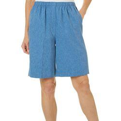 Alia Womens Heather Microfiber Twill Shorts