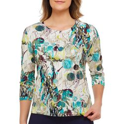 Alia Womens Abstract Floral Print Foil Top