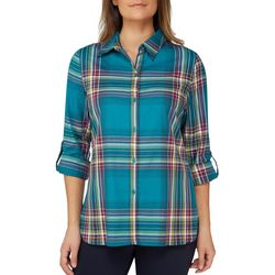 Alia Womens Plaid Woven Button Down Top