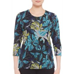 Alia Womens Floral Sketch Print Textured Top