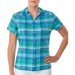 Alia Womens Embroidered Plaid Button Down Top