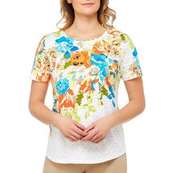 Alia Womens Embellished Floral Dot Top