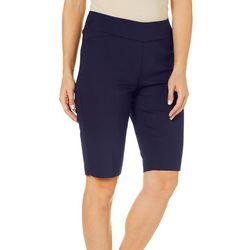 Alia Womens Solid Pull On Bermuda Shorts