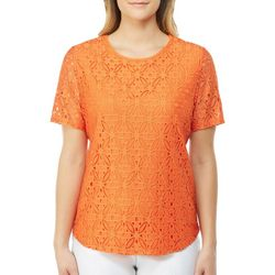 Alia Womens Solid Lace Overlay Top