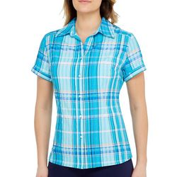 Alia Womens Plaid Button Down Short Sleeve Top